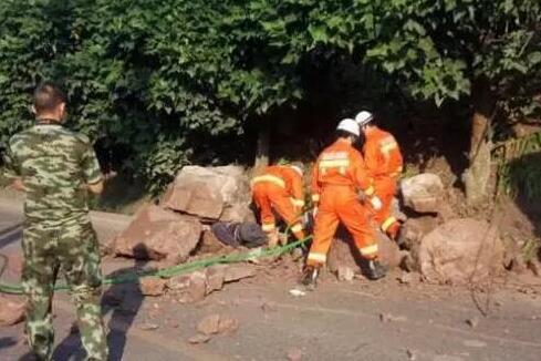 宜宾一男子不幸被山坡落石砸中 当场死亡