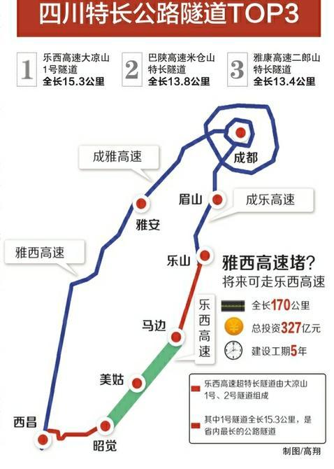乐西高速穿越大凉山创纪录 15.3公里隧道为省内最长