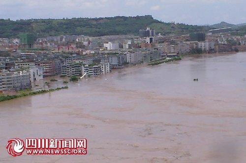 广安遇200年一遇大洪水 2/3老城区被淹(图)