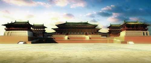 除了各种宫殿,还有宫内的配套住房以及围墙等,重现了1300年前唐朝皇宫图片