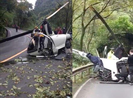 民用直升机在乐山一景区迫降 机上2人受伤