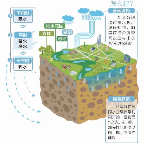 南天府新区建 海绵城市 下雨吸水干旱吐水 图 制图余进 何为海绵城市