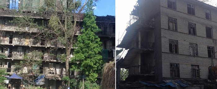 温江建材厂宿舍成严重危房 无人加固维修