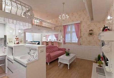 简欧式粉色系色调 打造卡哇伊梦幻复式公寓