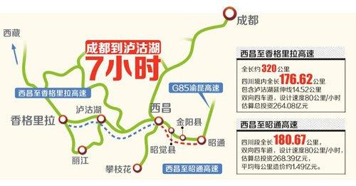 西香高速或今年开工 成都将7小时飙泸沽湖(图