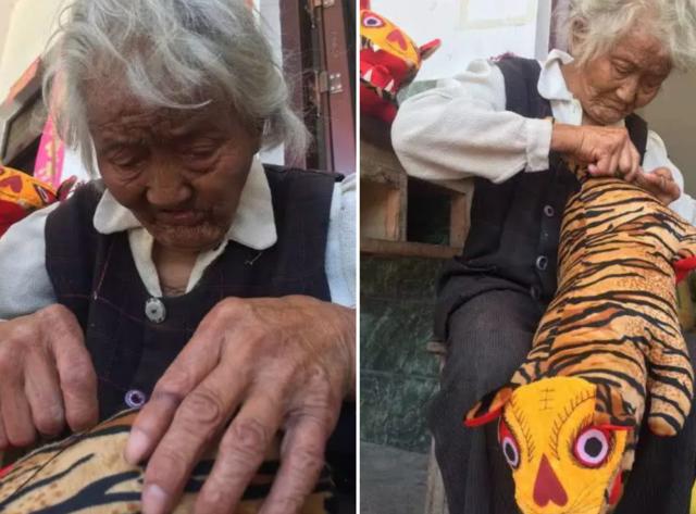 """绵阳95岁婆婆做""""老虎枕""""卖 为让脑瘫外孙娶上媳妇"""