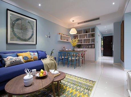 95平简装现代风 用天蓝色装出一个温馨的家