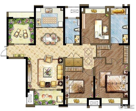 世茂香槟湖5#b3户型 四室两厅两卫 140㎡