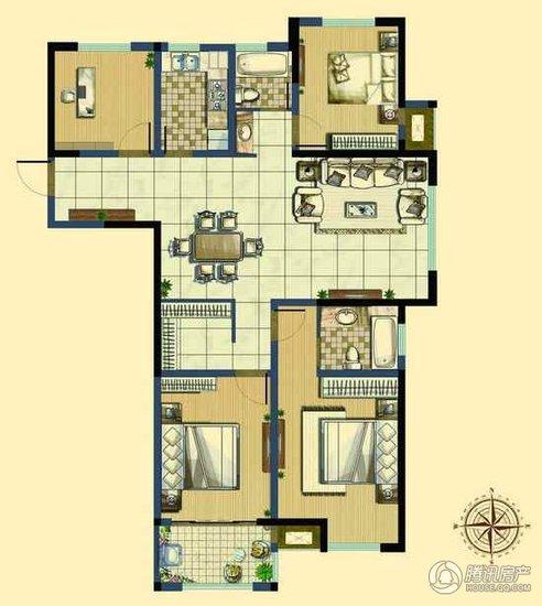 147㎡户型图,四室两厅两卫-生活轻松一步到位 限时抢购常州优质大户