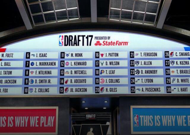NBA公布2018年各球队乐透抽签概率