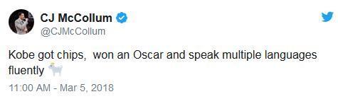 众星贺科比夺奥斯卡 大鲨鱼:我好羡慕呀!