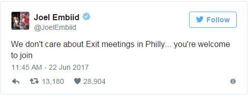 恩比德发推似招募波少:你可以缺席赛季总结会