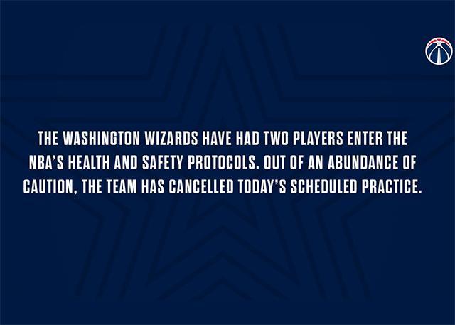 两球员进入健康安全程序 奇才取消今日训练