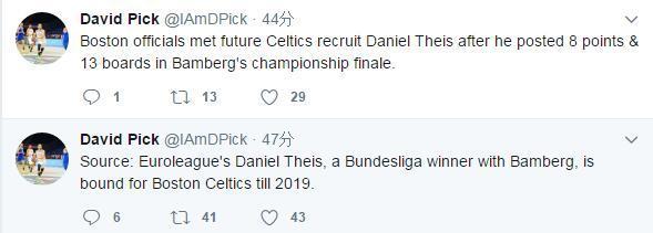 曝凯尔特人将与丹尼尔-泰斯签约至2019年