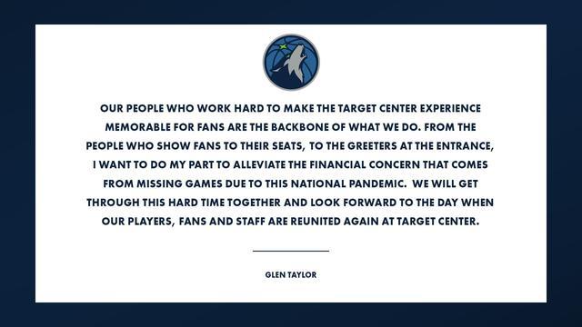 森林狼老板向主场兼职团队捐赠100万美元