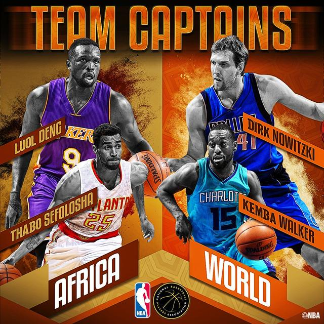 诺天王领衔四将担当NBA非洲赛队长