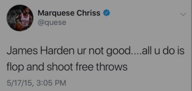 曝克里斯曾发推批哈登:你只会摔倒和罚球