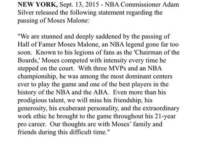 NBA主席萧华发声明悼念摩西-马龙