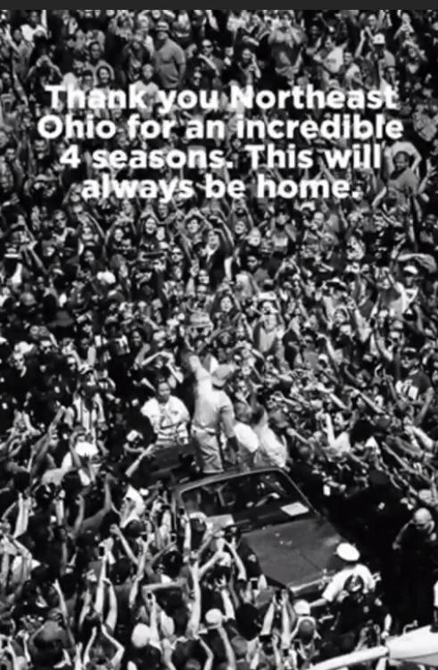 皇帝感谢俄亥俄东北部球迷:这里永远是我家
