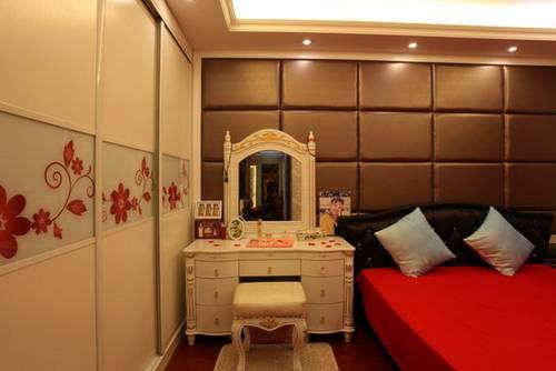欧式卧室床头背景墙效果图4 设计手法运用简单欧式的设计手法,把欧式