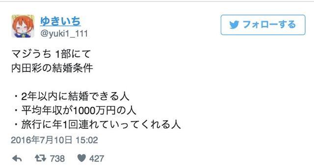 内田彩自曝结婚对象要求:年收入1000万日元