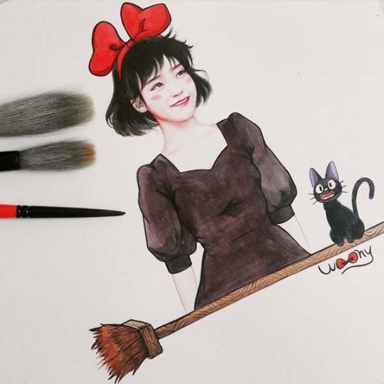 韩国绘师痴迷IU 让她在画中COS《魔女宅急便》