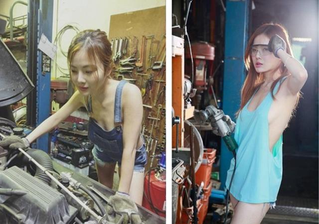 真空修车妹吸引手游商上门 老司机都想找她修车