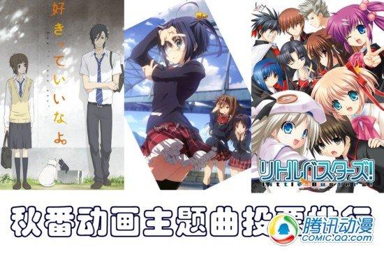 2012秋番动画主题曲投票排行出炉