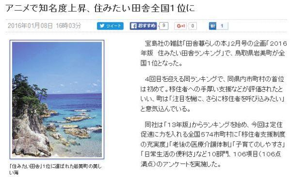 《Free!》效应!岩美町舒适度排名日本第一