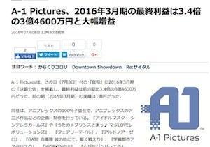 斩获巨额利润 A-1 Pictures公司数钱到手软