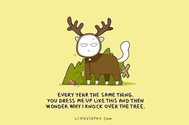 超还原!外国插画家描绘你和你主子的圣诞节