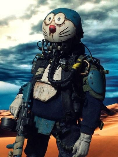 网友制作化身终极战士并头戴哆啦A梦头盔的大雄模型