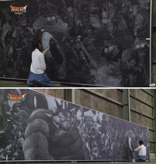城会玩系列:新宿车站惊见巨幅动漫黑板画!