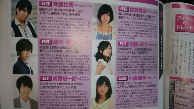日本杂志列举今年值得关注的声优
