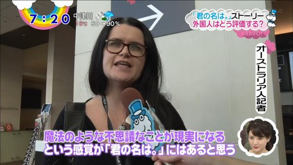 日本电视台到处问《你的名字。》看法