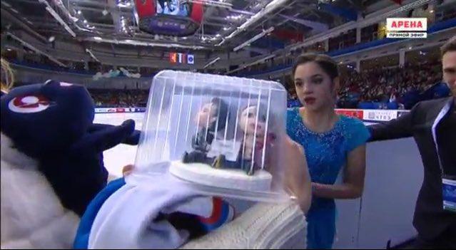 俄花滑名将梅娃沉迷《冰上的尤里》 粉丝送上勇利和维克托对娃