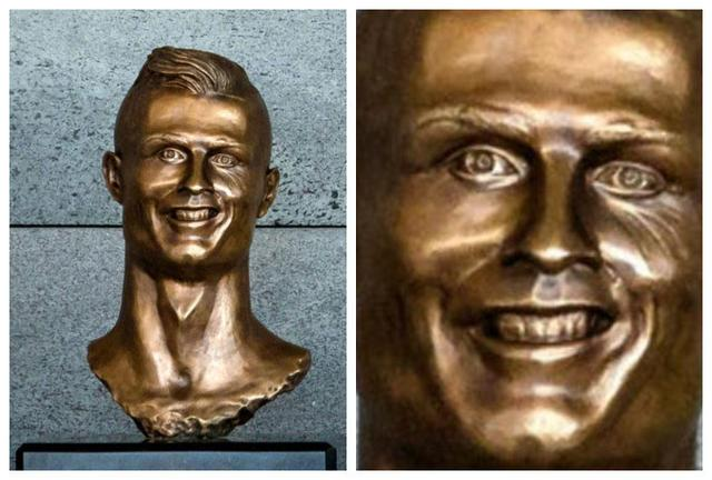 歪嘴傻笑成表情包!C罗雕像堪比邪神手办