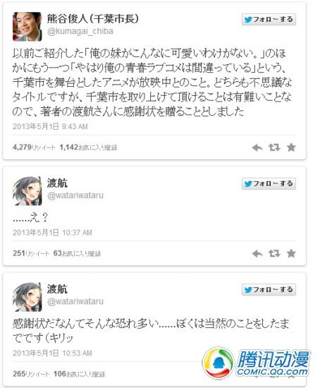 千叶市长向《果青》作者赠感谢信