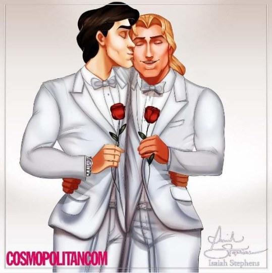 王子之间才有真爱!国外画师绘制迪士尼BL图