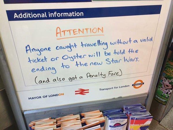 伦敦地铁放大招!逃票将被剧透《星战7》