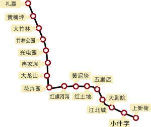 重庆轻轨5号线示意图 重庆轻轨5号线起始站点线路图 高清图片