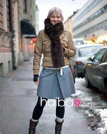 街拍寒冷冬季欧美毛茸皮草秀