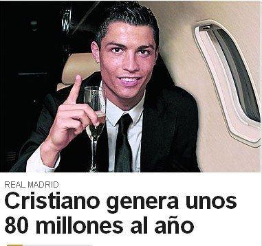 C罗成吸金王 不踢球每年也赚8000万