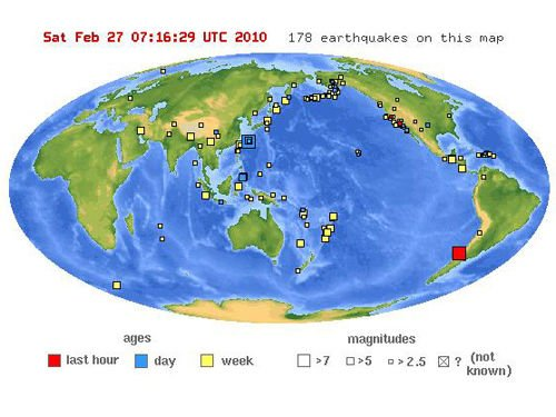 智利发生里氏8.8级地震 首都部分地区停电