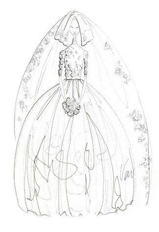 一字肩婚纱设计图手稿展示图片