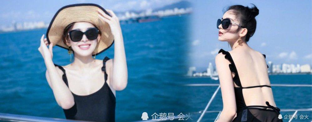 古力娜扎情人节晒游艇度假美图,穿露背泳装侧卧身材太迷人