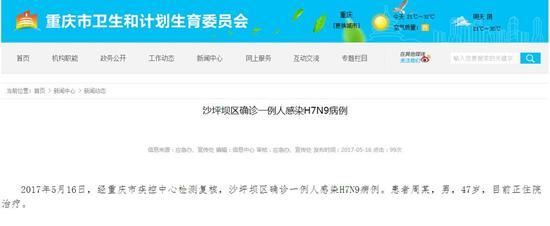 重庆主城新确诊一例人感染H7N9病例 患者为中年男性