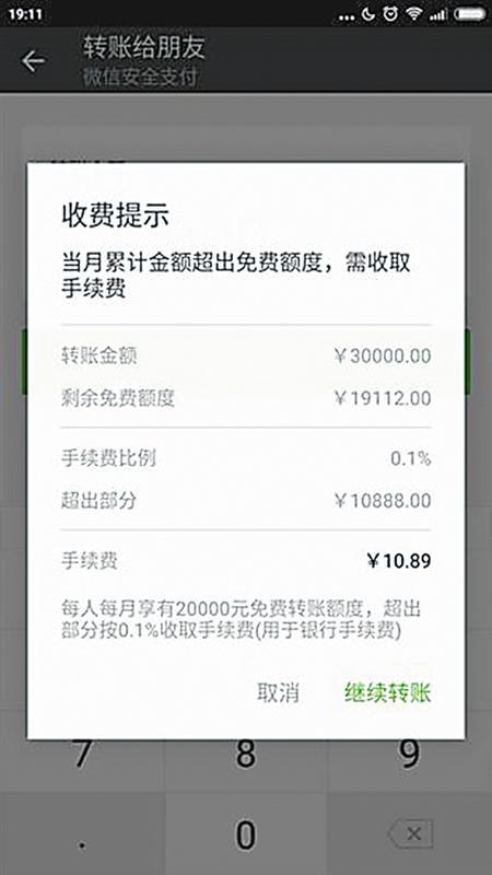 微信转账月超2万元 超出部分收0.1%手续费图片