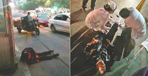 男子醉卧街头10分钟 被货车碾断腿