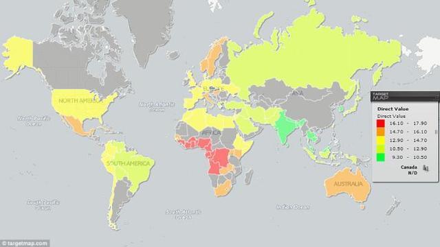 各国男性丁丁平均长度